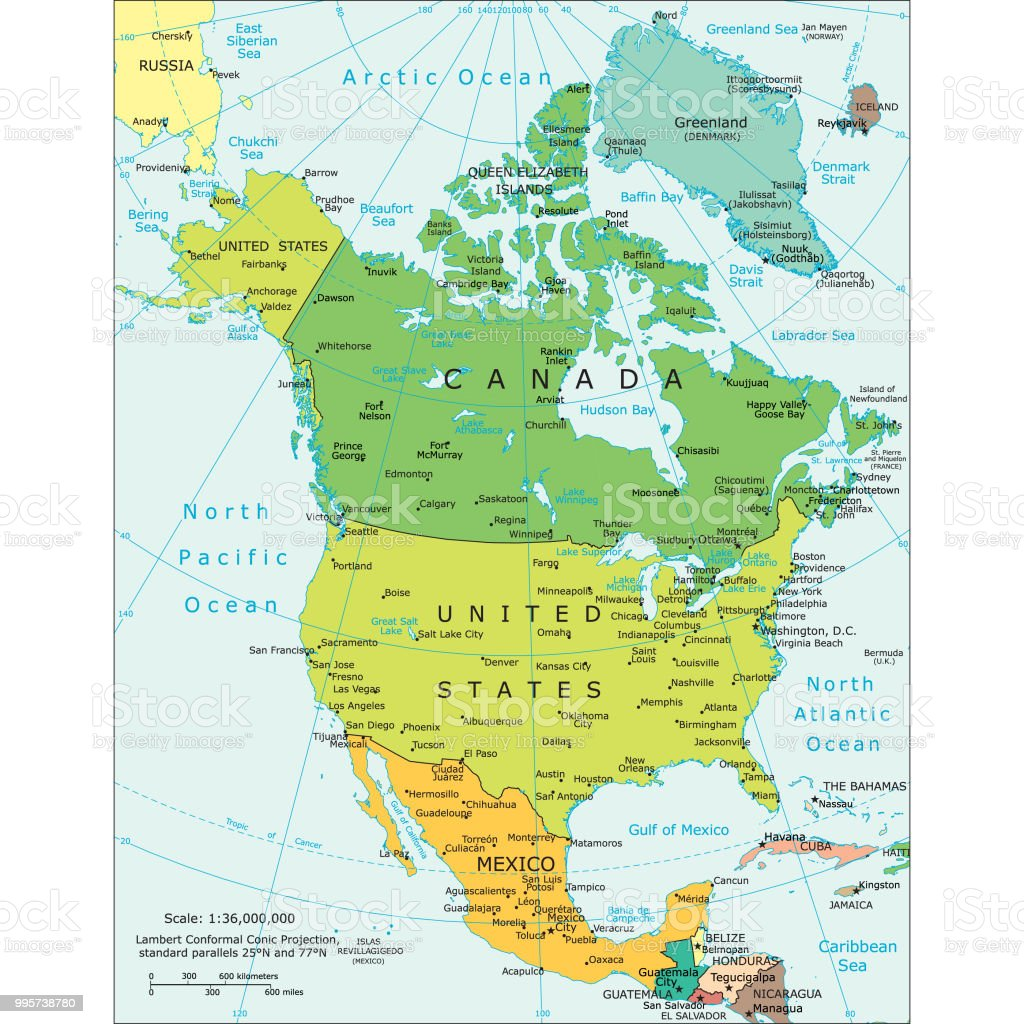 Image of: Political Map Of North America Stock Illustration Download Image Now Istock