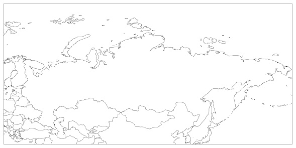 Political Map Of Russia And Surrounding Countries Black Thin ...