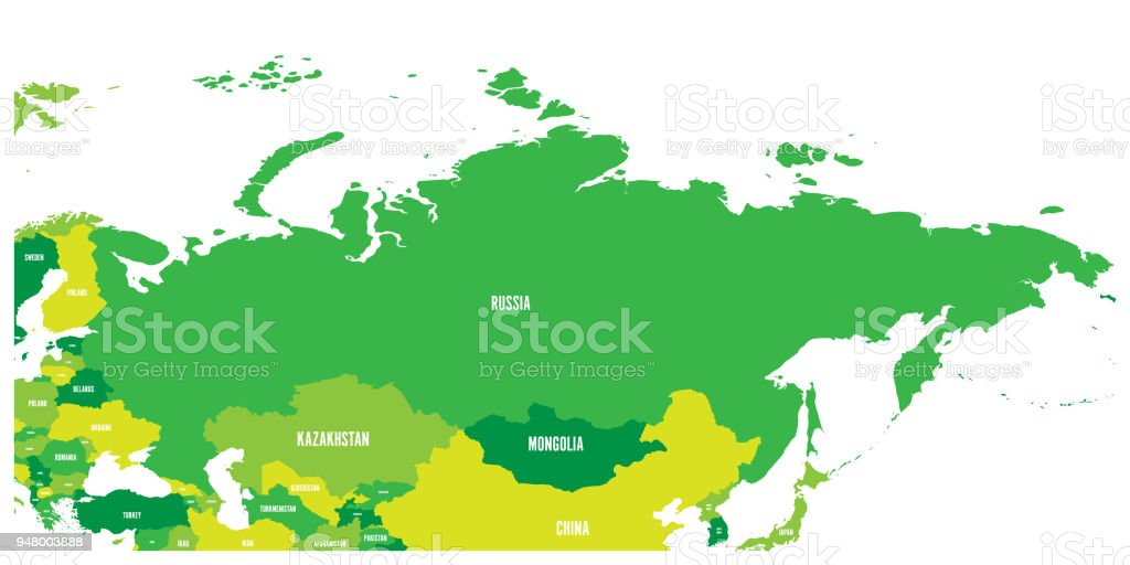 Political Map Of Russia And Surrounding European And Asian Countries