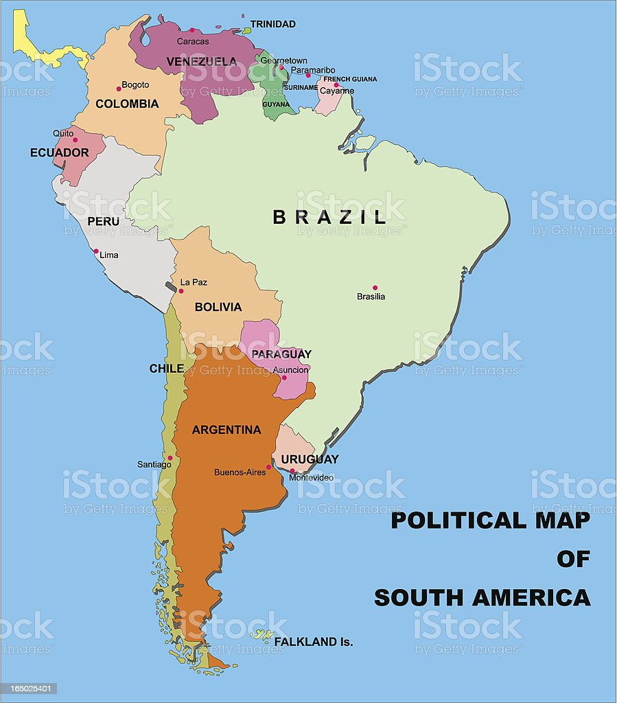 Political Map Of South America In Vector Format Stock Vector Art ...