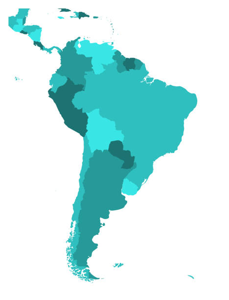 Political map of South America. Simple flat blank vector map in four shades of turquoise blue Political map of South America. Simple flat blank vector map in four shades of turquoise blue. latin america stock illustrations