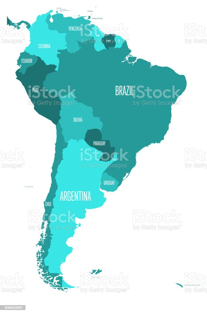 Political map of south america simple flat vector map with country political map of south america simple flat vector map with country name labels in four gumiabroncs Images
