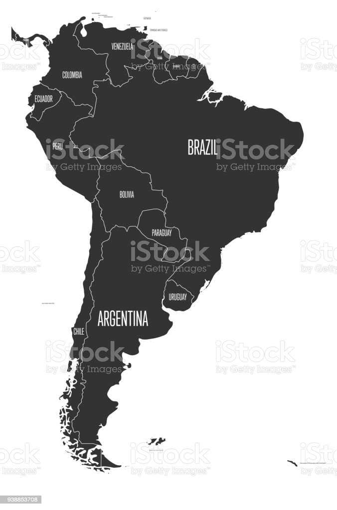 Political map of south america simple flat vector map with country political map of south america simple flat vector map with country name labels in grey gumiabroncs