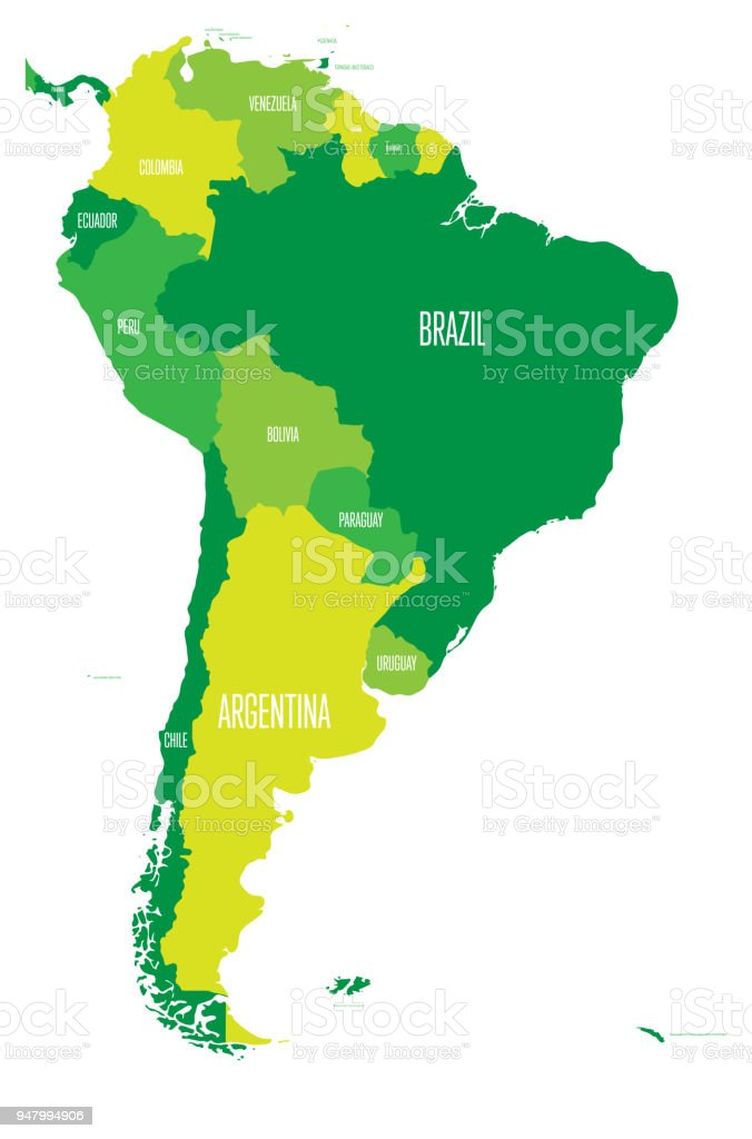 Political map of south america simple flat vector map with country political map of south america simple flat vector map with country name labels in four gumiabroncs