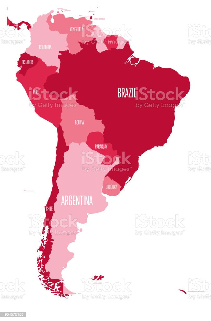 Political Map Of South America Simple Flat Vector Map With Country ...
