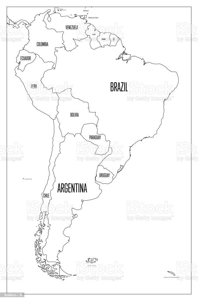 Carte Amerique Latine Muette.Carte Politique De Lamerique Du Sud Carte Muette Vecteur
