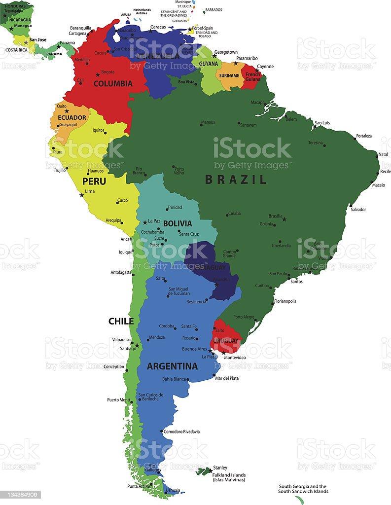 Cartina Geografica Sud America Politica.Mappa Politica Di America Del Sud Immagini Vettoriali Stock E