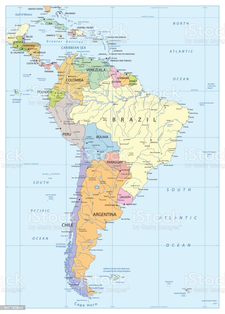 Political Map Of South America Stock Vector Art & More Images of ...