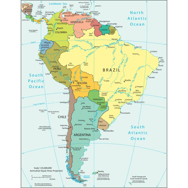political map of south america - south america maps stock illustrations