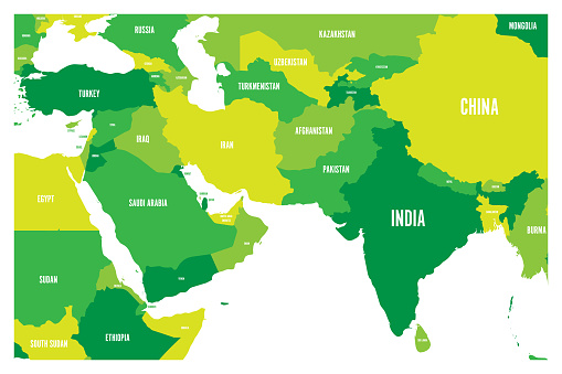 Map Of S Asia.Political Map Of South Asia And Middle East Countries Simple Flat