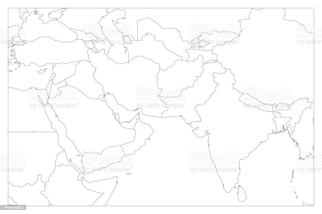 Political map of south asia and middle east countries simple flat political map of south asia and middle east countries simple flat vector outline map royalty gumiabroncs Image collections