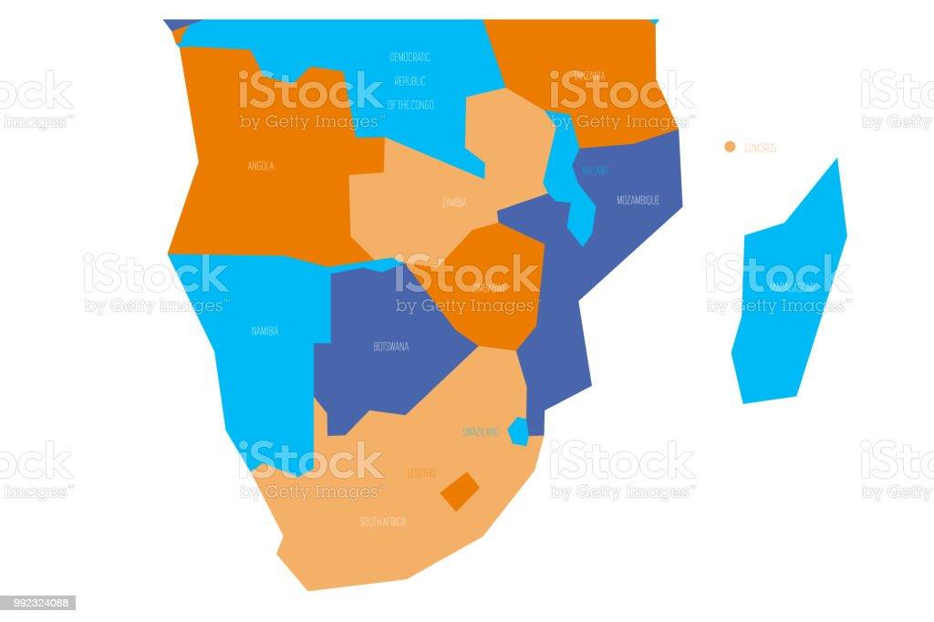 南部アフリカの政治地図は4 配色...