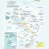 Vector illustration of the political map of the antarctic region.