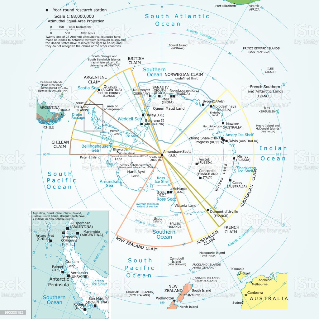 Mapa político de la región antártica - ilustración de arte vectorial