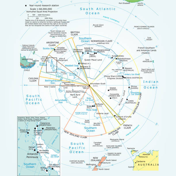 political map of the antartic region - antarctica maps stock illustrations, clip art, cartoons, & icons
