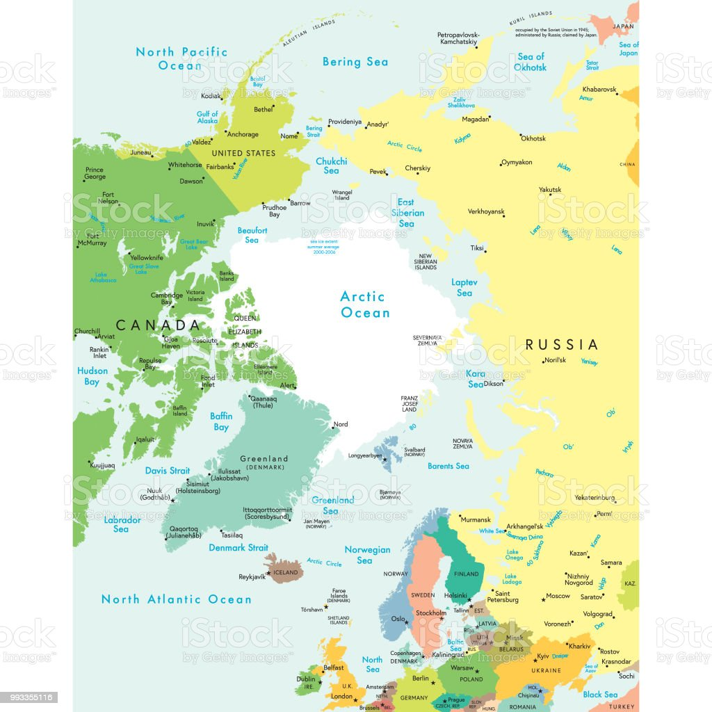 Political map of the arctic region vector art illustration