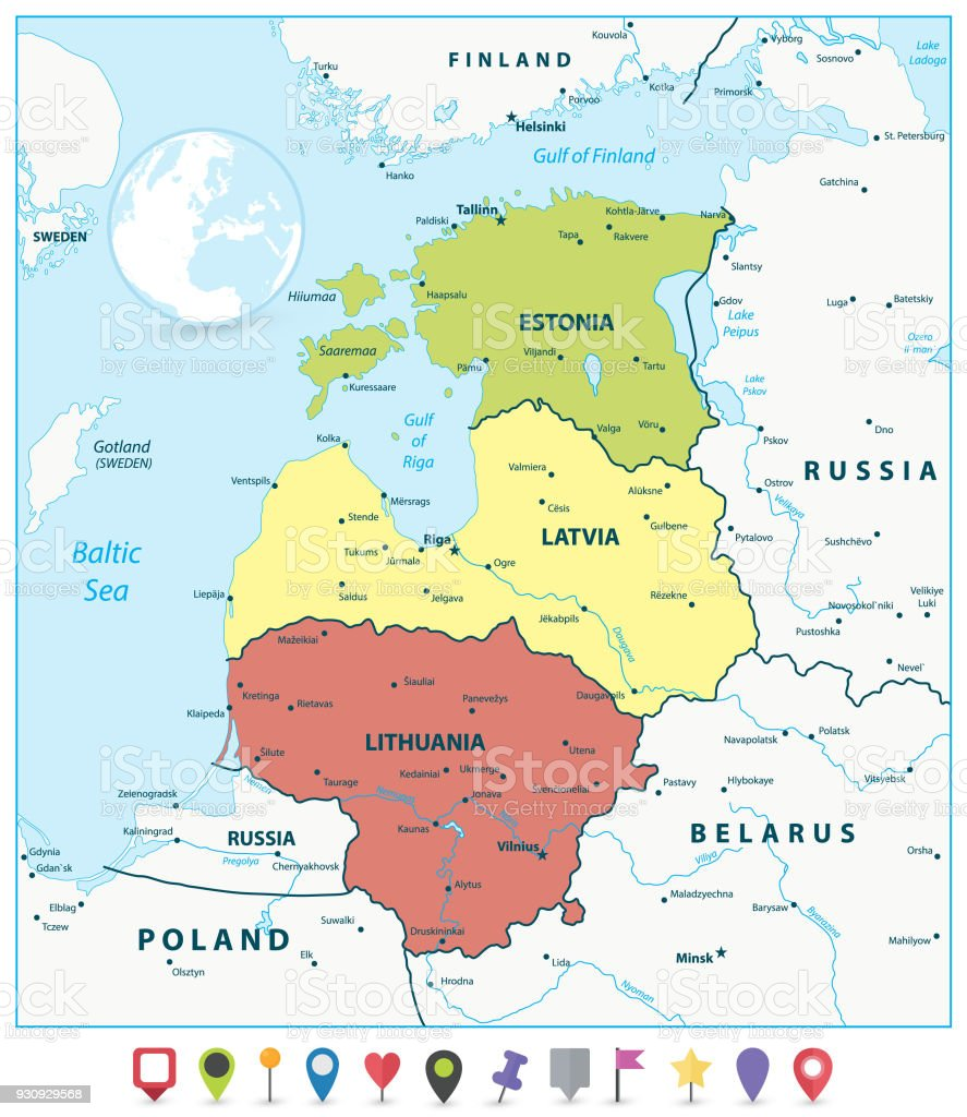 Political map of the baltic states and flat map pointers stock political map of the baltic states and flat map pointers royalty free political map of gumiabroncs Image collections