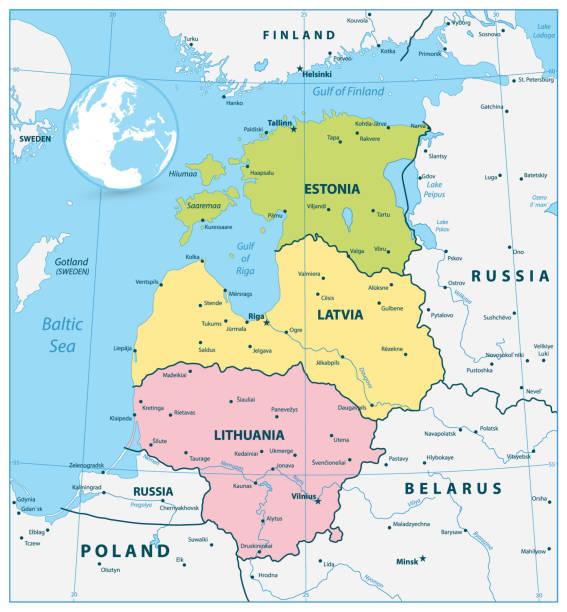 stockillustraties, clipart, cartoons en iconen met politieke kaart van de baltische staten - estland