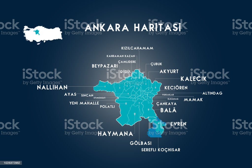 Başkent Ankara, Türkiye siyasi haritası vektör sanat illüstrasyonu