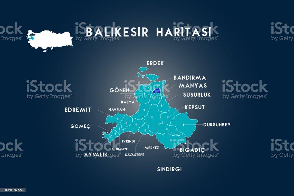 Sermaye Balıkesir, Türkiye siyasi haritası vektör sanat illüstrasyonu