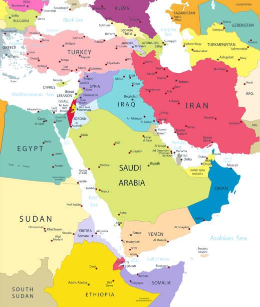 ilustraciones, imágenes clip art, dibujos animados e iconos de stock de mapa político del medio oriente y asia - mapa de oriente medio