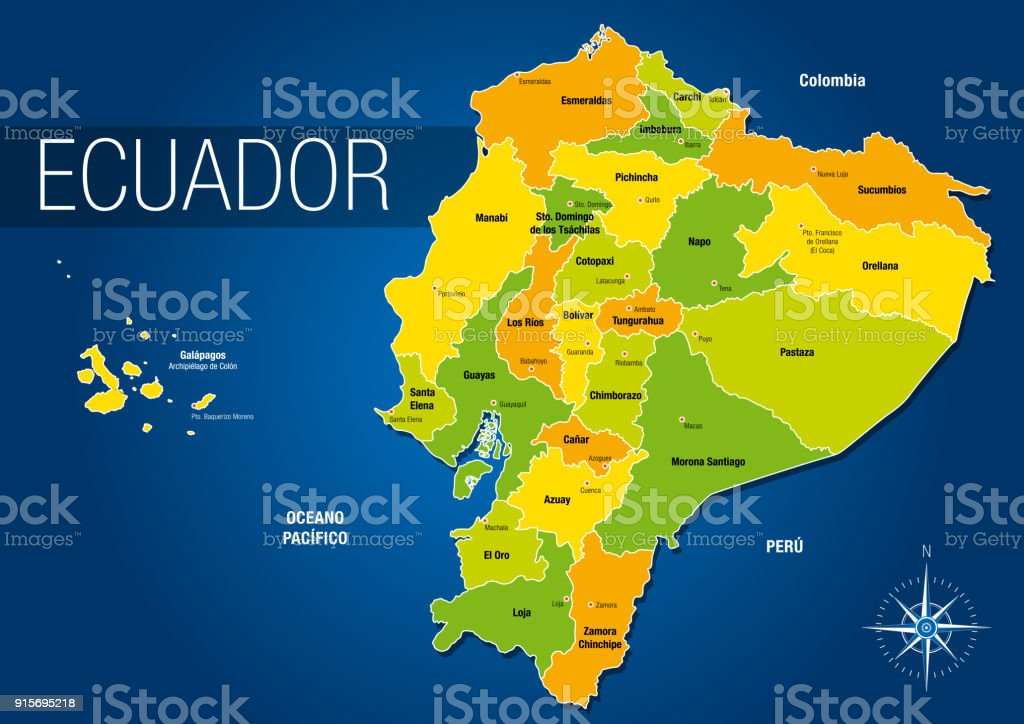 Political Map Of The Republic Of Ecuador With The Names Of The ...