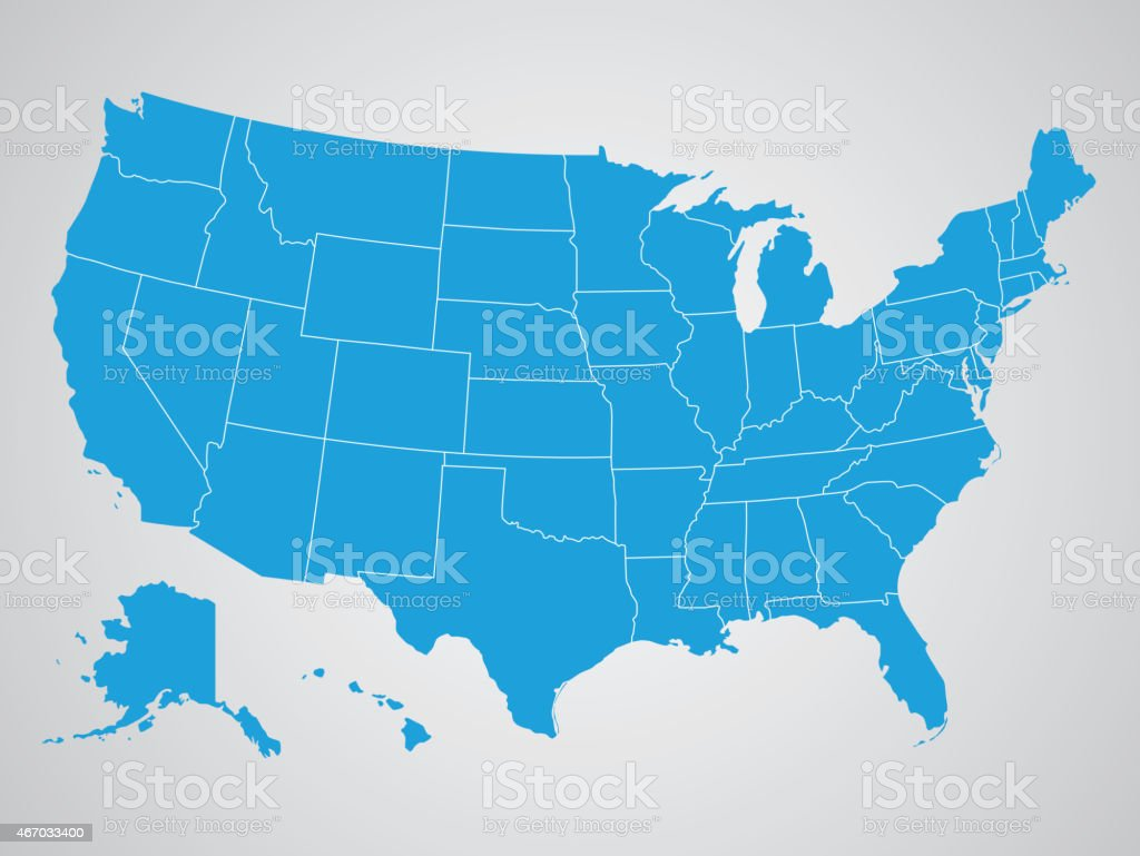 Political map of the United States of America vector art illustration