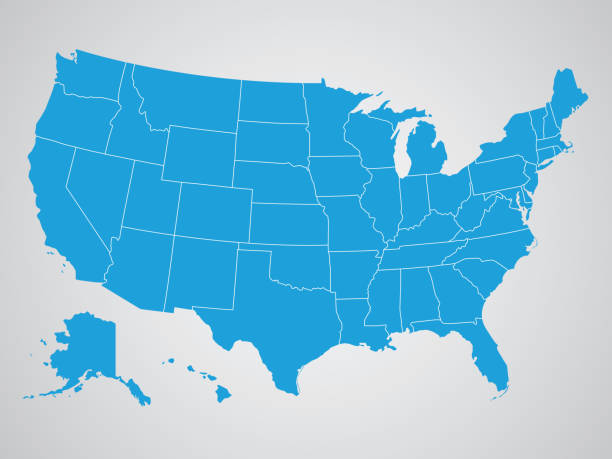 political map of the united states of america - blue clipart stock illustrations