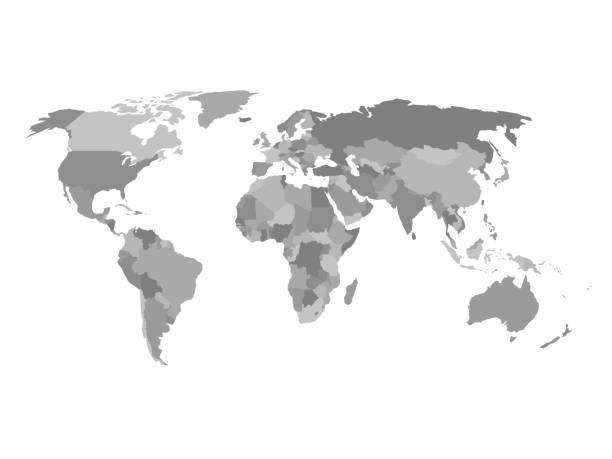 stockillustraties, clipart, cartoons en iconen met politieke kaart van de wereld in grijstinten. simlified vlakke geografische achtergrond behang. eps10 vector illustratie - europa geografische locatie