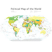 Vector illustration of a highly detailed political map of the world that includes all countries, states, oceans and names.
