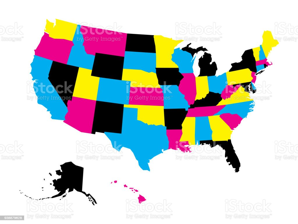 Political Map Of Usa United States Of America In Cmyk Colors ...