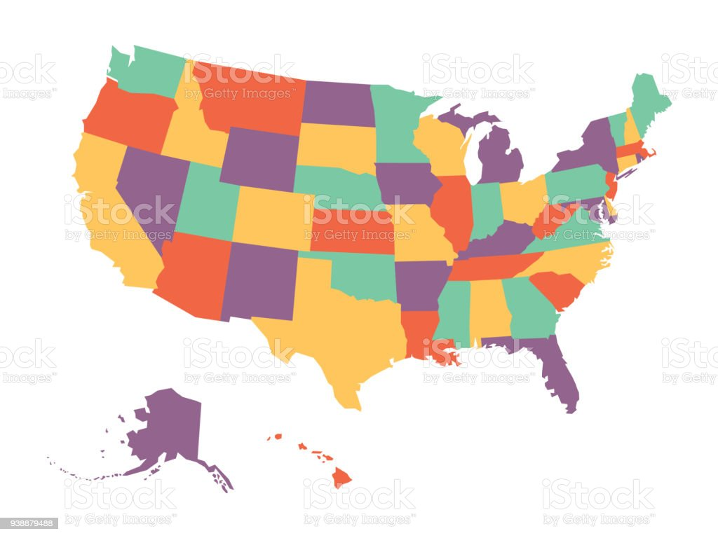 Political Map Of Usa United States Of America In Four Colors On - Us-political-map