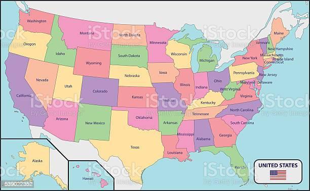Stati Uniti Cartina Politica.Mappa Politica Degli Stati Uniti Con I Nomi Immagini Vettoriali Stock E Altre Immagini Di Bandiera Istock