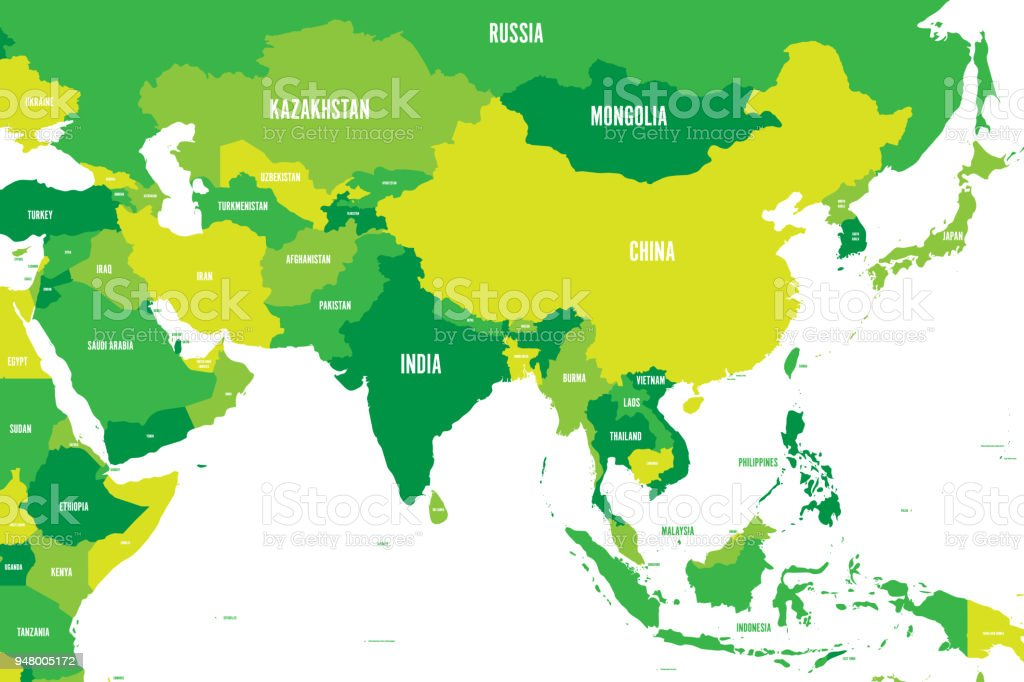 Political Map Of Western Southern And Eastern Asia In Shades Of ...