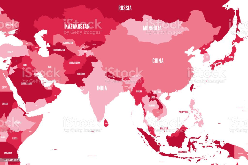 Political Map Of Western Southern And Eastern Asia In Shades ...