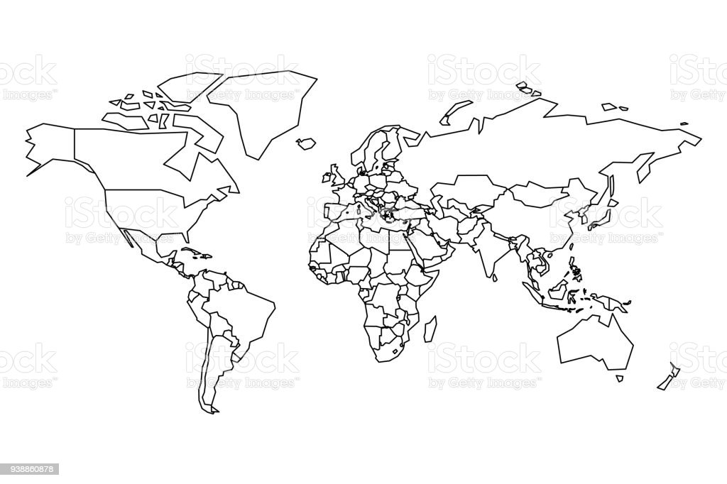 Political Map Of World. Blank Map For School Quiz. Simplified Black Thick  Outline On