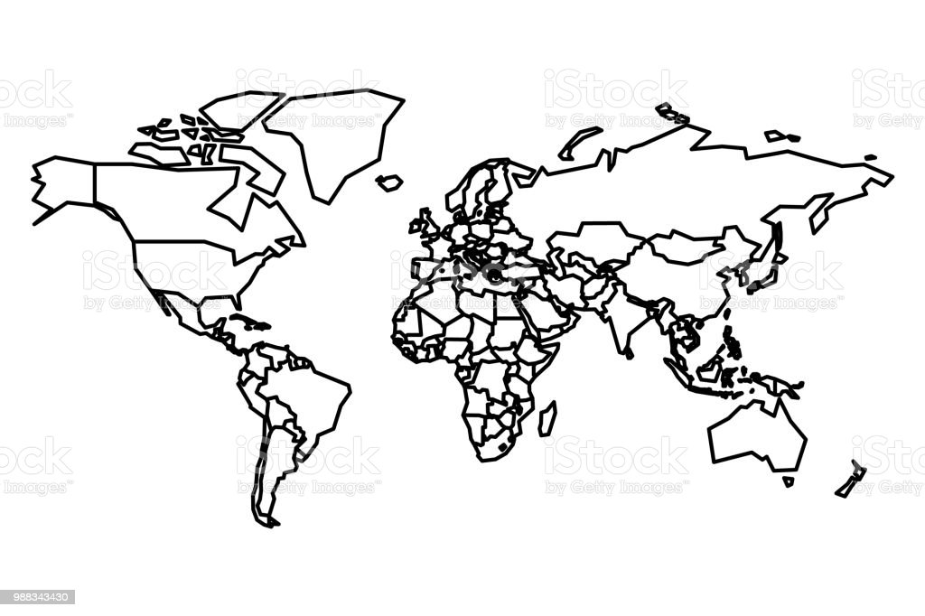 Political Map Of World Blank Map For School Quiz Simplified Black ...