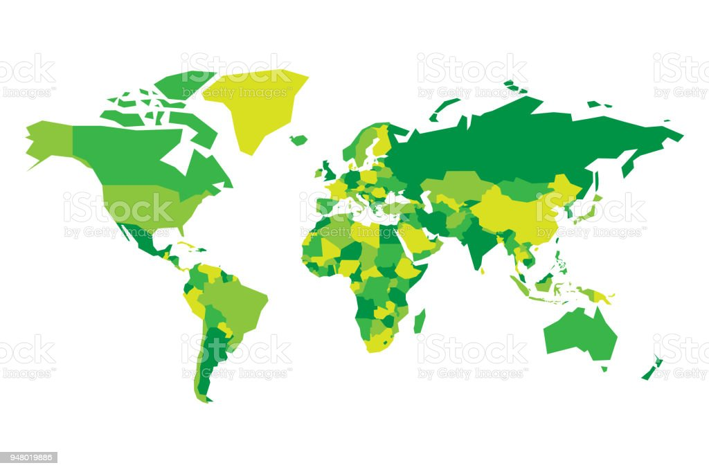 Political map of world simplified vector map in four shades of green political map of world simplified vector map in four shades of green royalty free gumiabroncs Image collections
