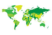 Political map of World. Simplified vector map in four shades of green