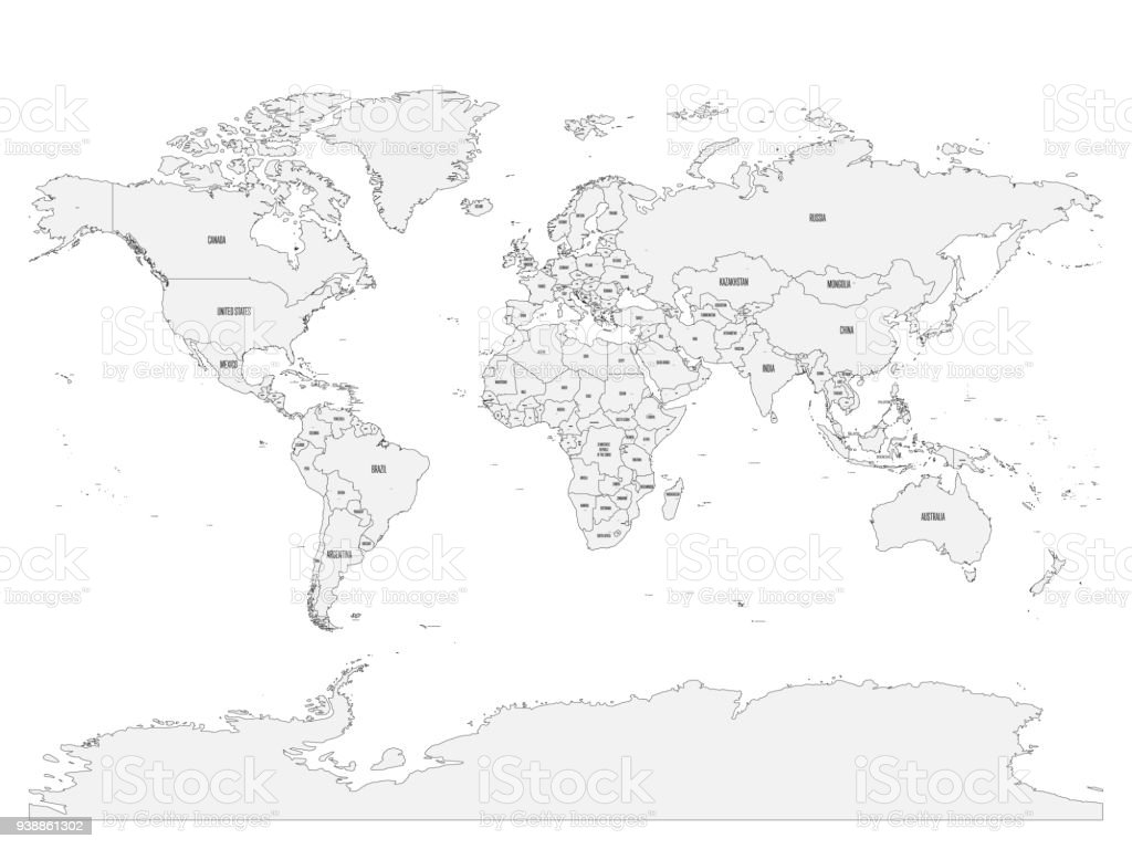 Political map of world with country names and capital cities gray political map of world with country names and capital cities gray vector map royalty gumiabroncs Images