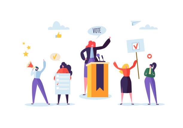 在演講中與女候選人的政治會議。選舉運動投票與持有投票橫幅和標誌的人物。男人和女人選民與擴音器。向量例證 - 政治 幅插畫檔、美工圖案、卡通及圖標