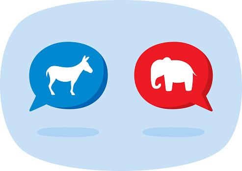 US Political Party Speech Bubble Doodle