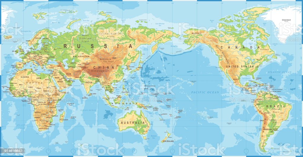 Pacific Ocean Topographic Map.Political Physical Topographic Colored World Map Pacific Centered