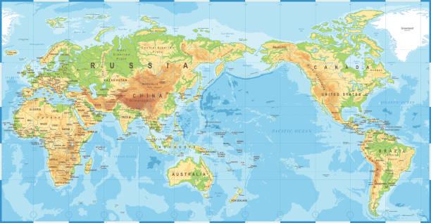 ilustrações de stock, clip art, desenhos animados e ícones de political physical topographic colored world map pacific centered - oceano pacífico