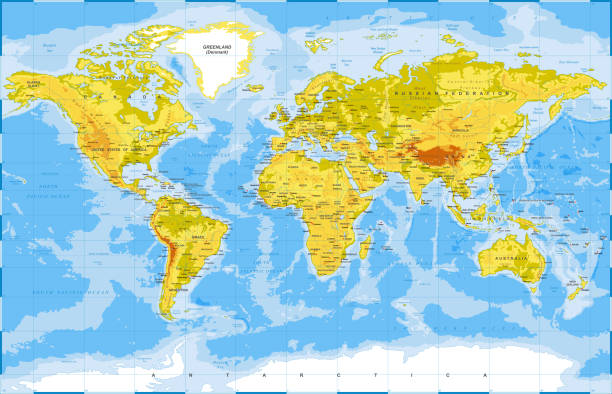 Royalty free physical world map in colors of political world map physical world map in colors of political world map clip art vector images illustrations gumiabroncs Choice Image