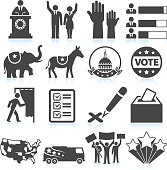Political Presidential Elections in America black and white set