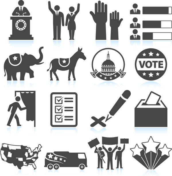 Political Presidential Elections in America black and white icon set Political Presidential Elections in America black and white set civil rights stock illustrations