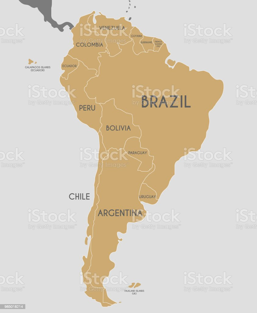 political south america map vector illustration editable and clearly