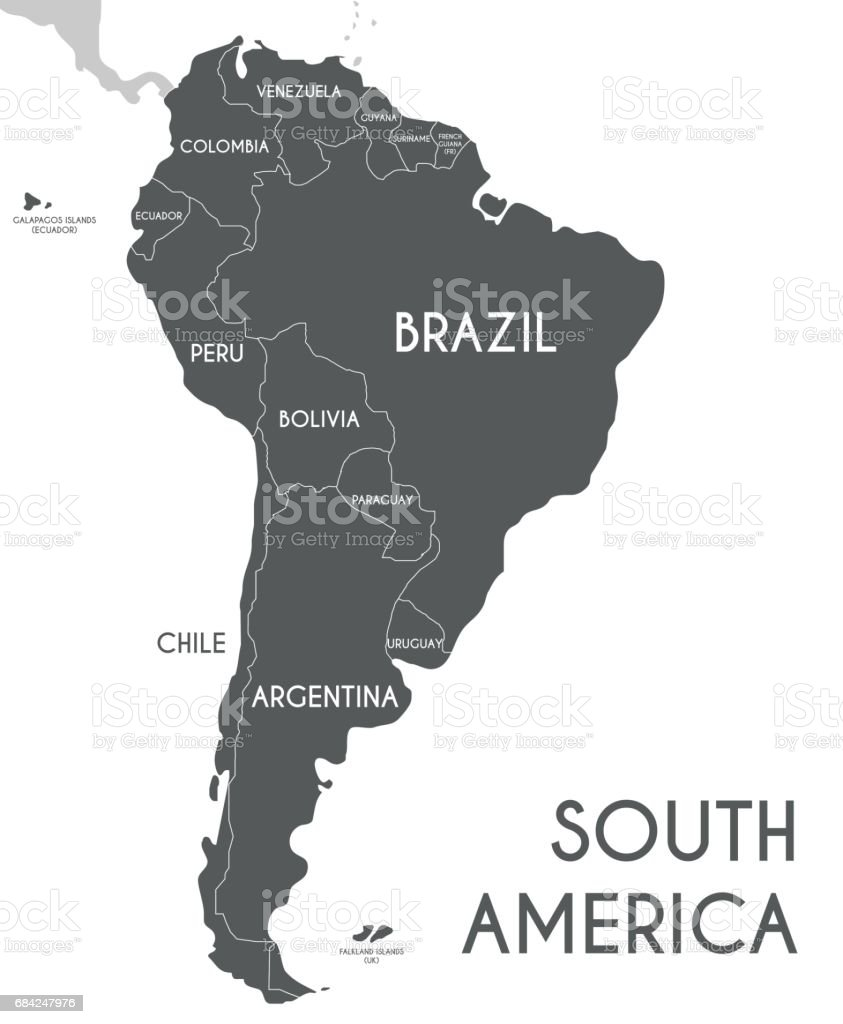 Political South America Map vector illustration isolated on white background. royalty-free political south america map vector illustration isolated on white background stock vector art & more images of art