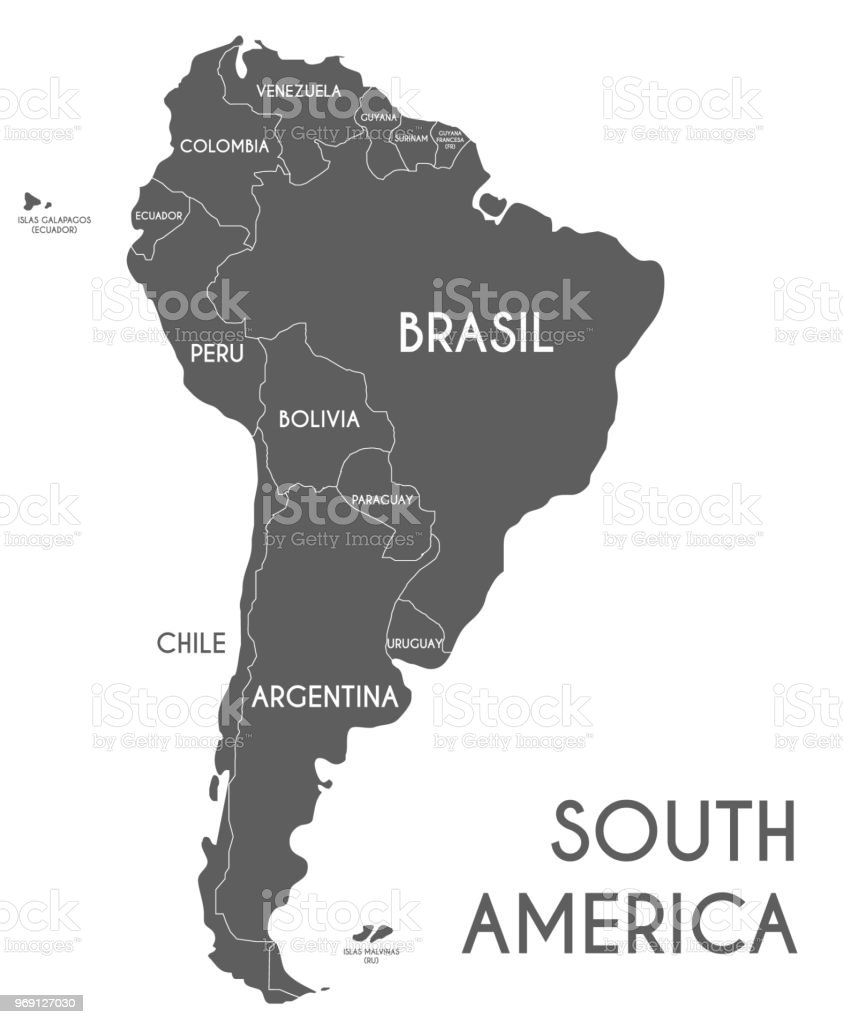 South America Map No Names.Political South America Map Vector Illustration Isolated On White